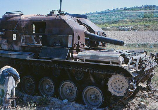 Selbstfahrlafette M52 105 mm der Jordanische Armee als Beutefahrzeuge der Israelischen Armee während des Sechstagekrieg 1967 / Self Propelled Howitzer of the Jordanian Army captured by Israel Army / IDF during the Six Day War 1967