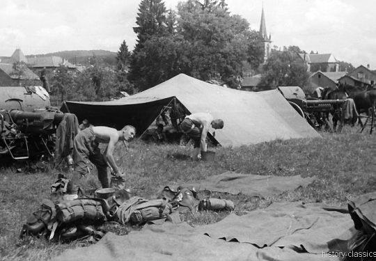 Wehrmacht Heer Armeepferde Pferdegespanne - Artillerie mit Feldkanone 7,5-cm