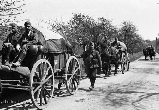 Wehrmacht Heer Pferdegespanne – Versorgung / Transport - 34. Infanteriedivision Einmarsch Luxemburg 10.05.1940