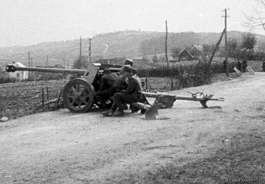 2. Weltkrieg Wehrmacht Heer Europa – Kroatien 1944 Rückzug - PAK 40 7,5 cm / 75 mm