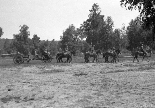 Wehrmacht Heer Armeepferde Pferdegespanne - Artillerie mit Leichter Feldhaubitze leFH 18 M 10,5 cm