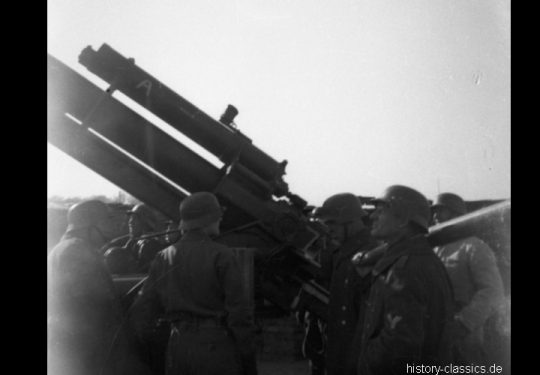 Wehrmacht Heer / Luftwaffe Flugabwehrkanone FLAK 18 8,8 cm / 88 mm (KRUPP) Flakstellung Frankfurt am Main Sachsenhausen Oberrand