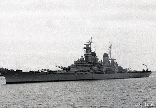 US NAVY / United States Navy Schlachtschiff Iowa-Klasse / Battleship Iowa-Class – USS Missouri BB-63