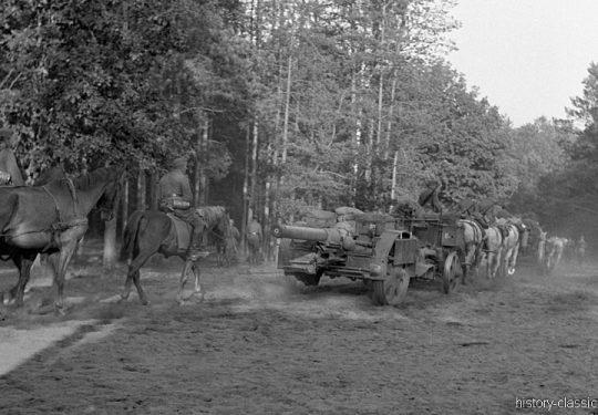 Wehrmacht Heer Armeepferde Pferdegespanne - Artillerie mit Feldkanone K15/16(t) K410(i) 15,2 cm / Ex Tscheslowakei Autokanone M.15/16