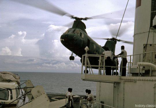 USMC United States Marine Corps Boeing-Vertol CH-46A Sea Knight - USS Repose (AH-16)