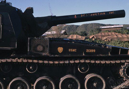 USMC United States Marine Corps Panzerhaubitze M55 203 mm / Self-Propelled Howitzer SPH M55 8 Inch - USA Vietnam-Krieg / Vietnam War