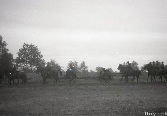 Wehrmacht Heer Armeepferde Pferdegespanne - Artillerie mit Feldkanone 16nA 7,5 cm